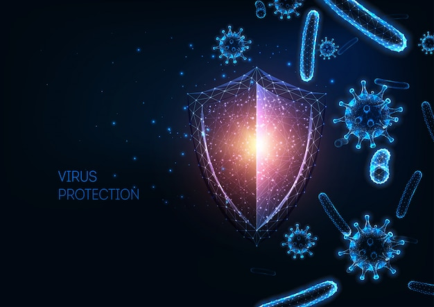 Futuristic immune system protection with glowing low polygonal shield, virus and bacteria cells background