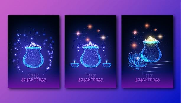 Futuristic indian shub dhanteras festival posters set