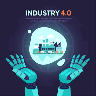 Futuristic in industry 4.0 illustration with robot assistant