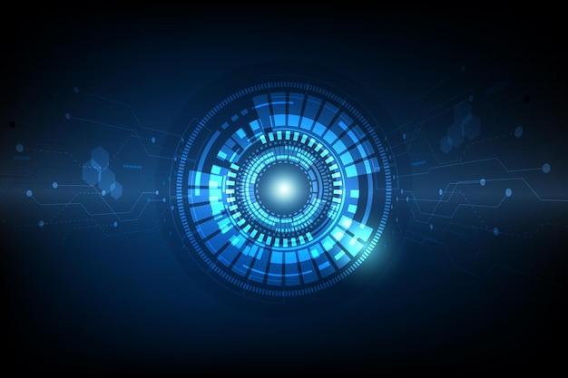 미래 정보 원형 디지털 및 인쇄 회로 개념 배경
