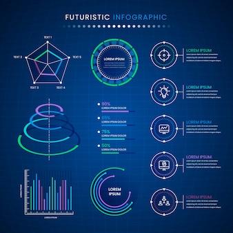 Futuristic infographic collection design