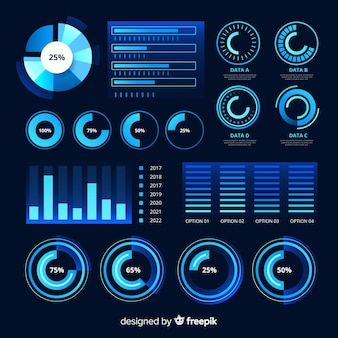Futuristic infographic element collection