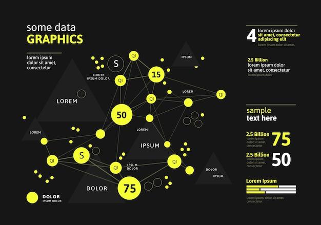 미래의 인포 그래픽. 정보 미학. 복잡한 데이터 스레드 그래픽 시각화. 추상 데이터 그래프.