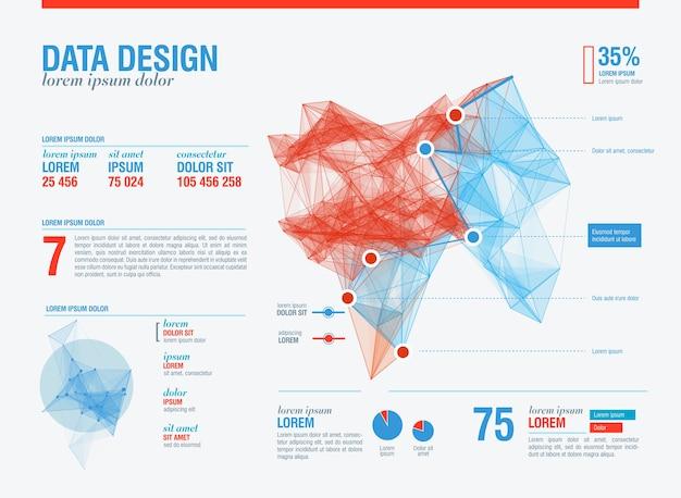 未来的なインフォグラフィック。情報美学。複雑なデータスレッドのグラフィックの視覚化。抽象データグラフ。