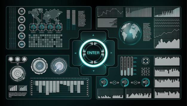 未来的なインターフェースのhudデザイン要素。矢印のセットです。技術と科学のテーマ。