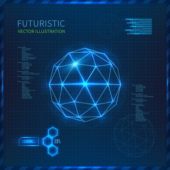 Futuristic interface with vector sphere with triangles