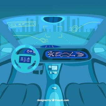 Futuristic interior design of autonomous car