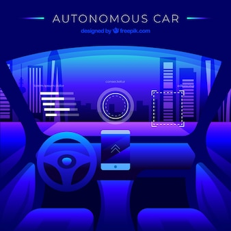 Futuristic interior design of autonomous car