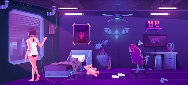 Футуристический интерьер игровой спальни концепт-арт