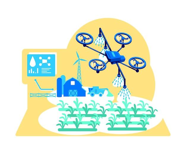 未来的な灌漑フラットコンセプトイラスト