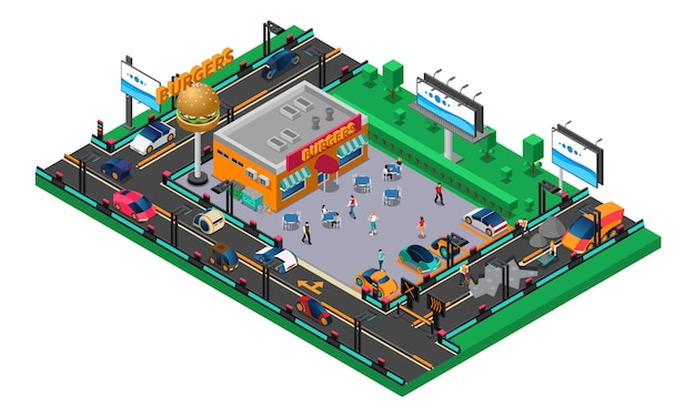 Futuristic isometric composition