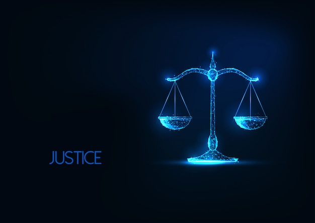 Futuristic justice illustration, law judgement concept with glowing low polygonal balance scales.