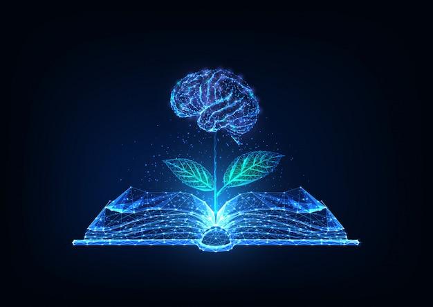 Футуристические знания, образование, концепция творчества с светящейся низкой многоугольной открытой книгой и плато с мозгом в виде цветка