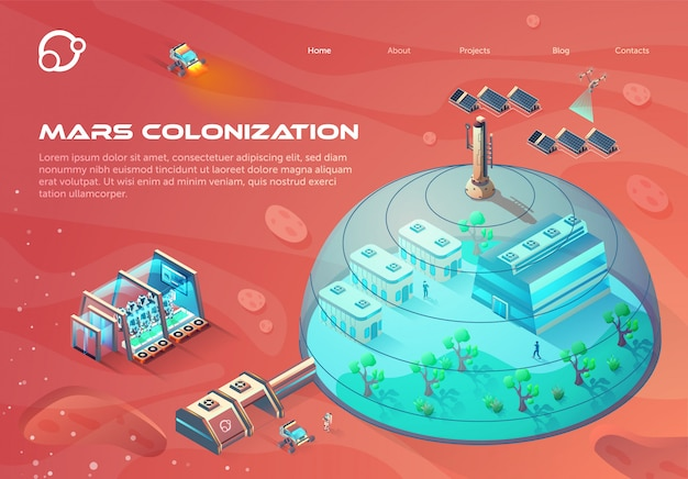 Futuristic landing page web template with illustration of mars colonization.