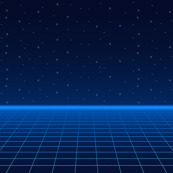 Futuristic landscape with styled laser grid.