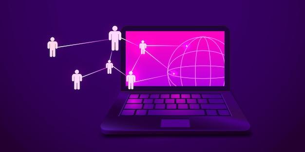 사람들이 그리드 소셜 미디어 및 마케팅 개념을 갖춘 미래형 노트북 컴퓨터