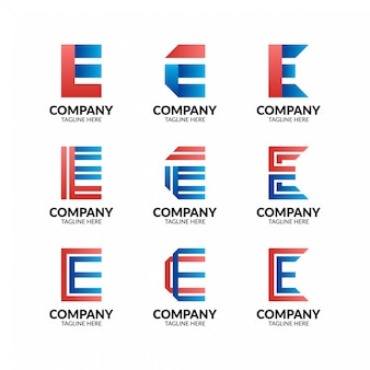Futuristic letter e logo collection