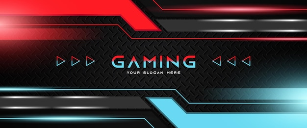 Futuristic light red and blue gaming header social media banner template