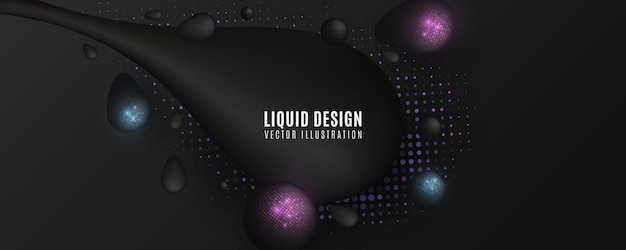 Футуристические жидкие формы с блестящими полутонами. капли с эффектом сверкающих полутонов. жидкие волнистые элементы.