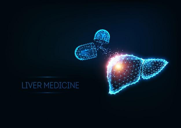 Футуристическая иллюстрация лечения печени со светящимися многоугольными печенью и таблетками