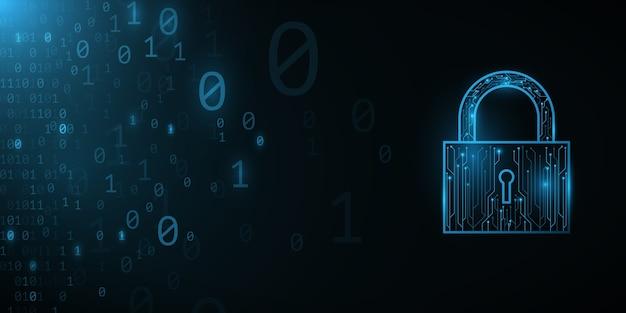 Футуристический замок от печатной платы компьютера с фоном двоичного кода. современный дизайн в стиле хай-тек. программирование баннера. мировая сеть. шаблон высоких технологий.