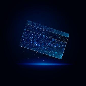 三角形の星の線が付いている未来的な低多角形のクレジットカードモダンなデザインオンライン支払い