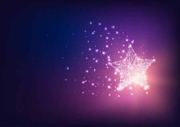 Futuristic magical bright glowing star with stardust on dark blue to purple gradient background.