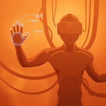 Futuristic male figure in the vr headset