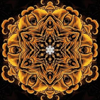 ゴールデンブラウンとゴールドのライトが付いた未来的な曼荼羅のデザイン