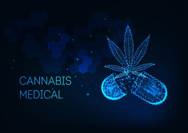 Futuristic medical cannabis treatment concept with glowing low poly marijuana leaf and capsule pill