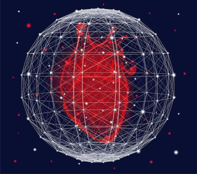 赤い人間の心臓と神経叢の球を持つ未来的な医療コンセプト。神経叢効果のある抽象的な幾何学的なデザイン