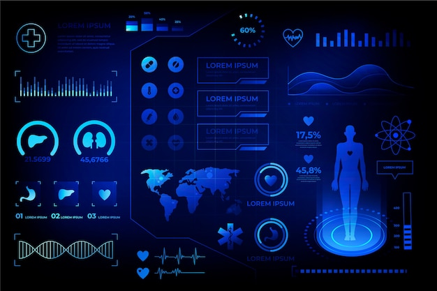Futuristic medical infographic style