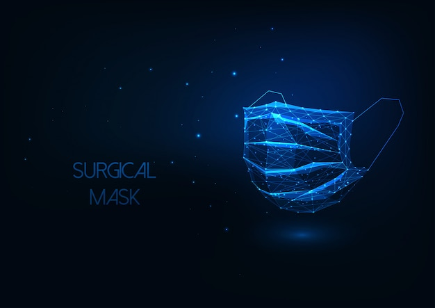 Futuristic medical surgical protective facial mask isolated on dark blue background.