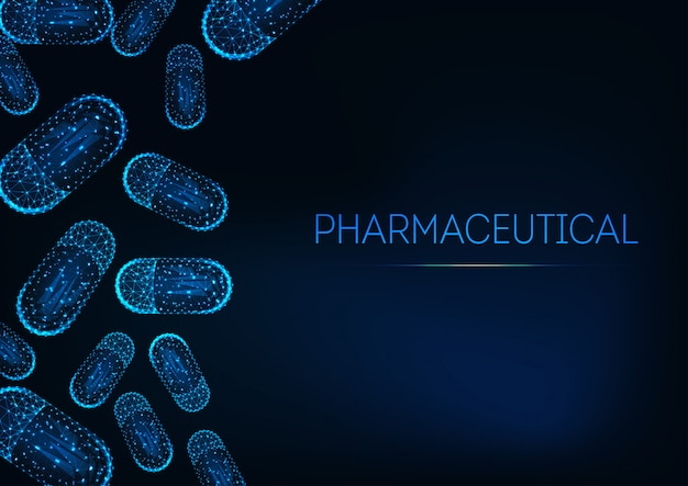 Futuristic medicine concept with glowing low polygonal capsule pills on dark blue background.