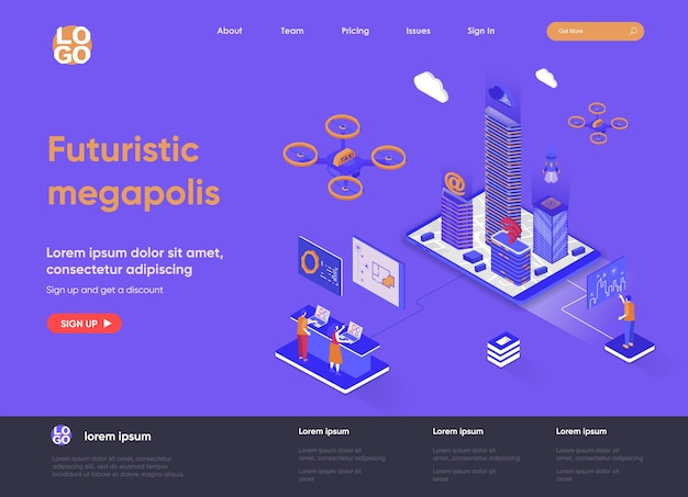 Futuristic megapolis 3d isometric landing page illustration with people characters