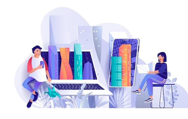 Futuristic megapolis flat design concept illustration of people characters