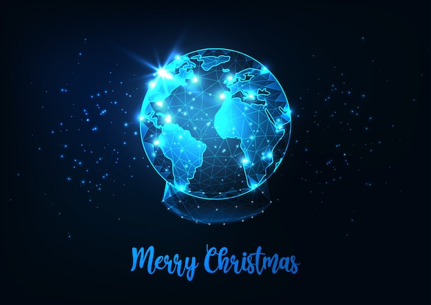 Futuristic merry christmas greeting card with low polygonal snow globe with planet earth world map.