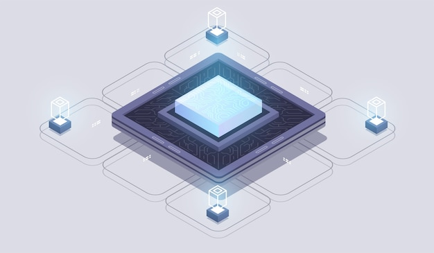 Futuristic microchip processor. digital chip.modern cpu. modern isometric illustration.