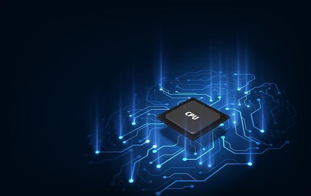 電話機のバックライトが青色の未来的なマイクロチッププロセッサ。量子電話、ビッグデータ処理、データベースの概念。ベクトルイラスト。