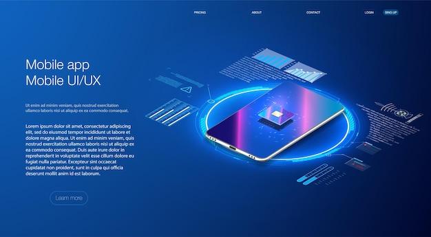 파란색으로 전화기에 백라이트가 있는 미래형 마이크로칩 프로세서. 양자 전화 프로세서 iso 배너. 디지털 칩. 현대 cpu, 모든 목적을 위한 훌륭한 디자인