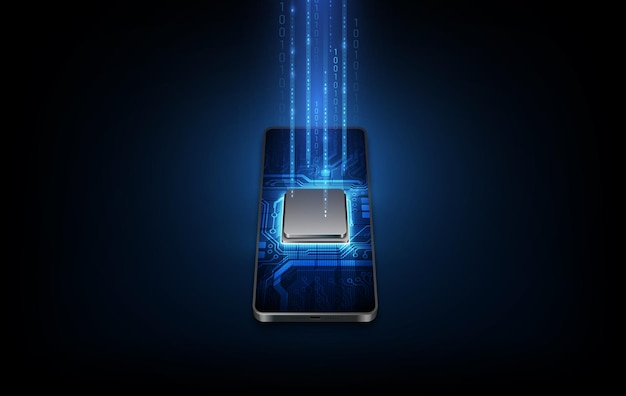 Futuristic microchip processor with backlight on the phone in blue. quantum phone, big data processing, database concept. vector illustration.