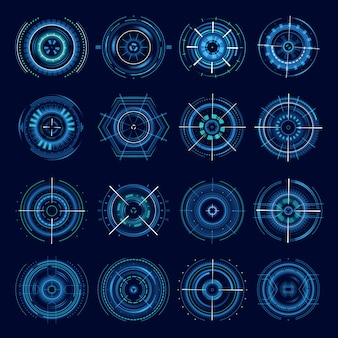 Futuristic military aims, sci-fi crosshair