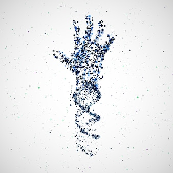 Futuristic model of hand dna, abstract molecule, cell illustration