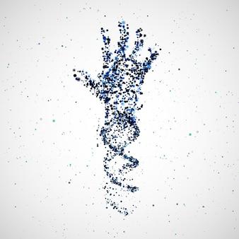 ハンドdna、抽象的な分子、細胞のイラストの未来的なモデル