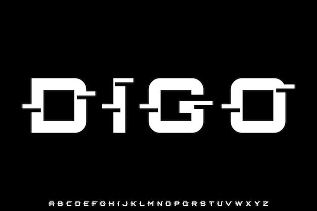 Futuristic modern geometric alphabet font