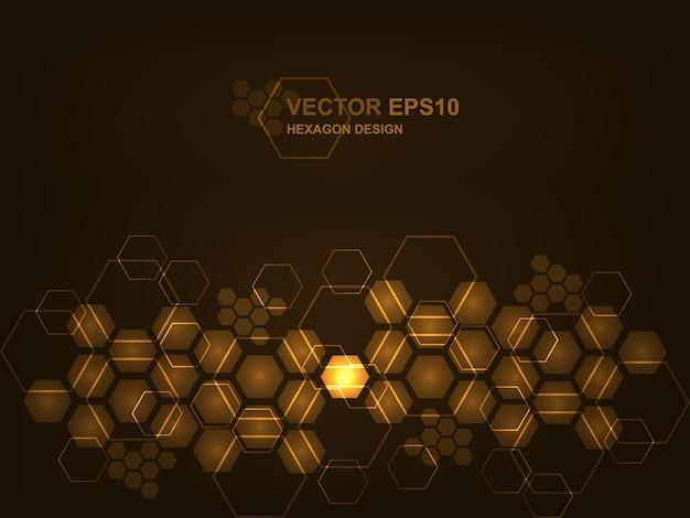 Футуристический современный привет технологий коричневый фон. технология шестиугольника концепции фон для цифровых технологий, науки, исследований и инновационной медицины.
