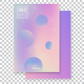 Futuristic modern holographic background set. 90s, 80s retro style.