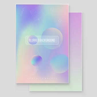 Futuristic modern holographic background set. 90s, 80s retro style