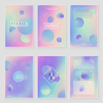 Futuristic modern holographic cover set. 90s, 80s retro style.  hipster style graphic geometric holographic elements. iridescent