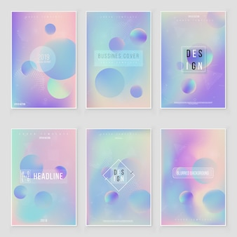 Futuristic modern holographic cover set. 90s, 80s retro style.  hipster style graphic geometric holographic elements